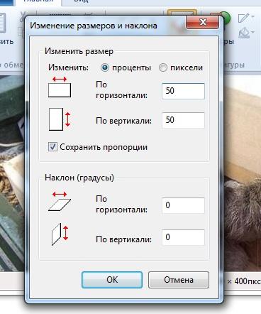 Уменьшение изображения в Paint